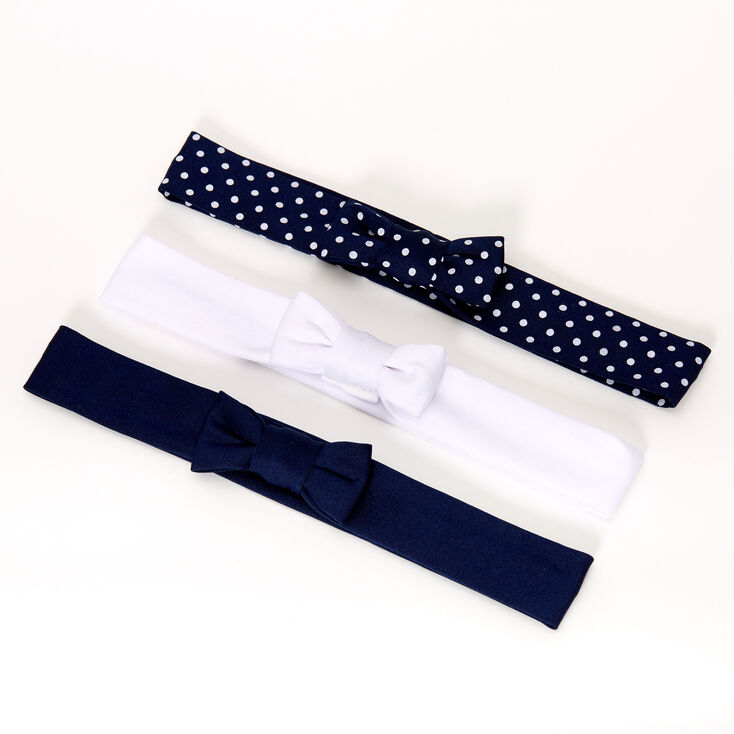 Claire's Club Mixed Pattern Bow Headwraps - Navy, 3 Pack,