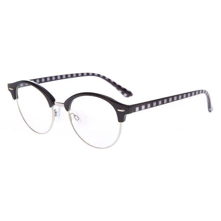 Checkered Browline Clear Lens Frames - Black,