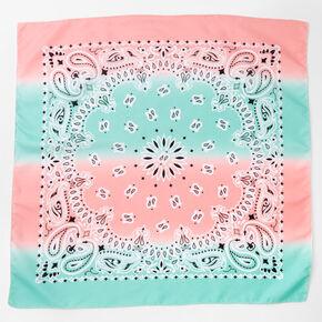 Bandeau bandana cachemire motif dégradé bleu et rose pastel,
