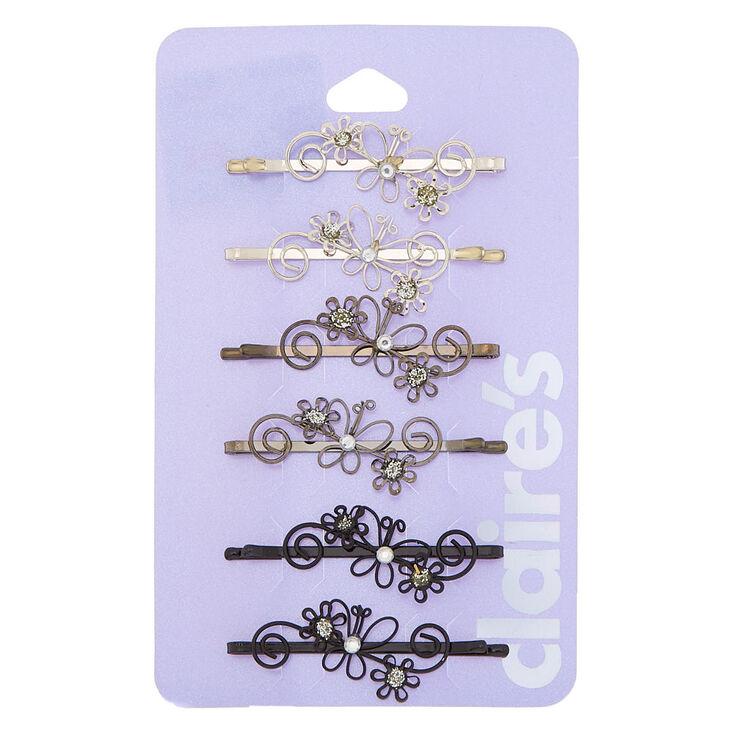 Flower Swirl Hair Pins - Silver,