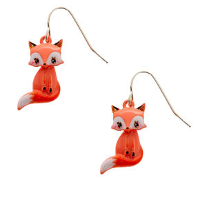 "Silver 1"" Farrah the Fox Drop Earrings - Orange,"