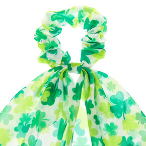 Small Shamrock Hair Scrunchie Scarf - Green,