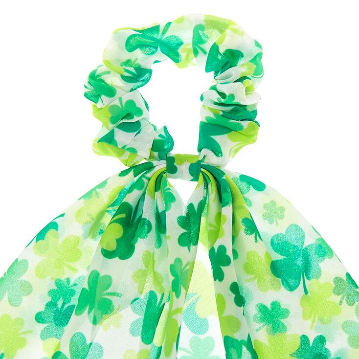 Petit chouchou foulard motif trèfle - Vert,