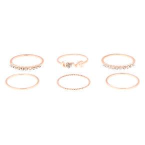 Rose Gold Love Rings - 6 Pack,