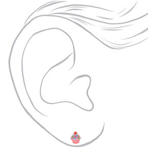 Clous d'oreilles cupcake décoré en argent - Rose,
