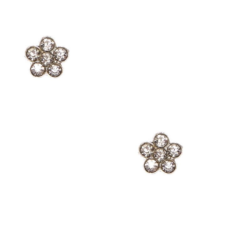 Clear Crystal Flower Magnetic Stud Earrings,