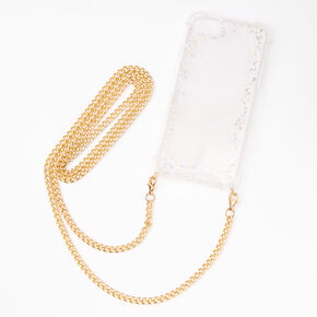 Iridescent Glitter Phone Case with Gold Chain - Fits iPhone 6/7/8/SE,
