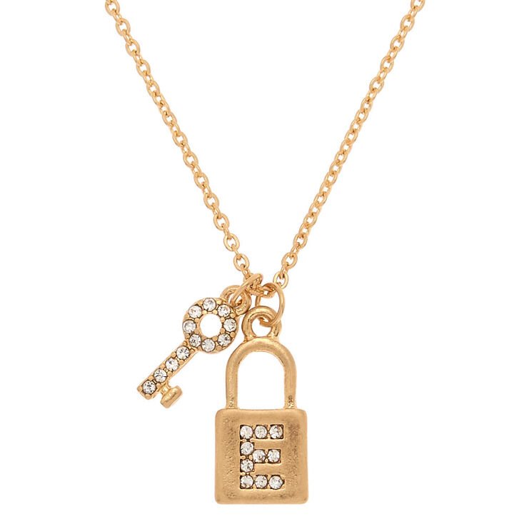 Gold Lock & Key Initial Pendant Necklace - E,
