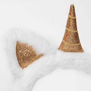 Claire's Club Plush Unicorn Glitter Accent Ear Muffs - White,
