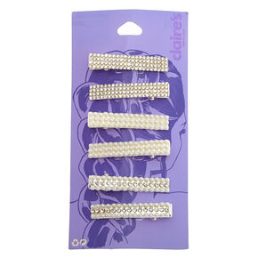 Silver Rhinestone & Pearl Rectangle Hair Clips - 6 Pack,