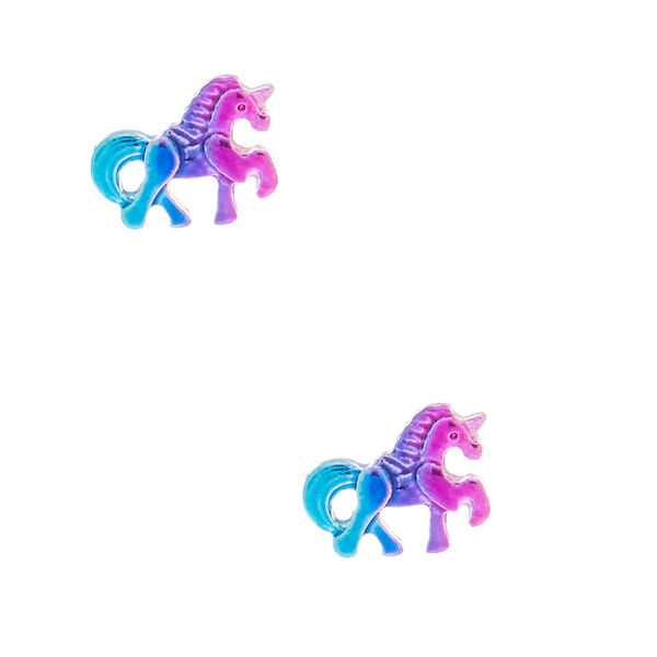 Claire's - anodized unicorn stud earrings - 1