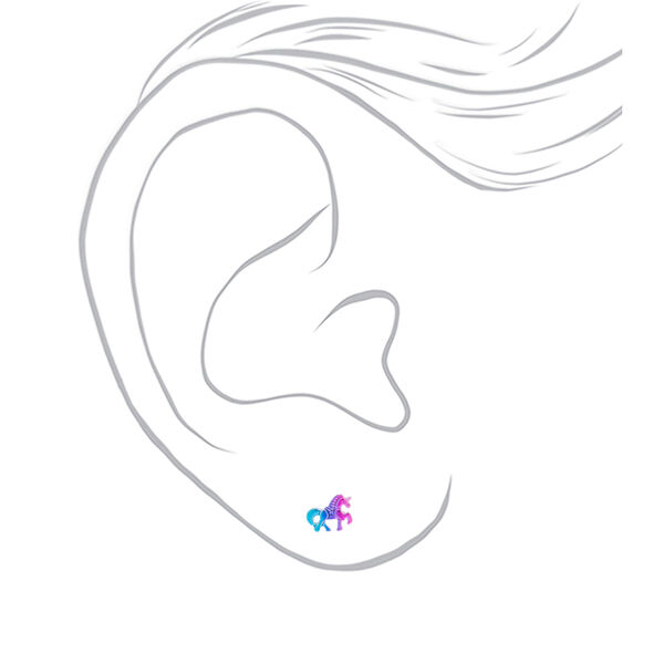 Claire's - anodized unicorn stud earrings - 2