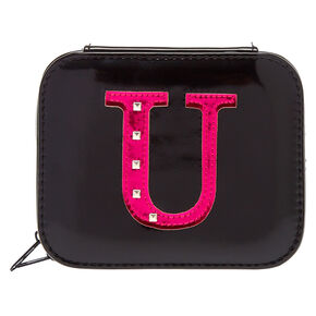 "Metallic Pink ""U"" Initial Jewellery Case,"