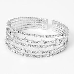 Silver Rhinestone Star Multi Row Bracelet,