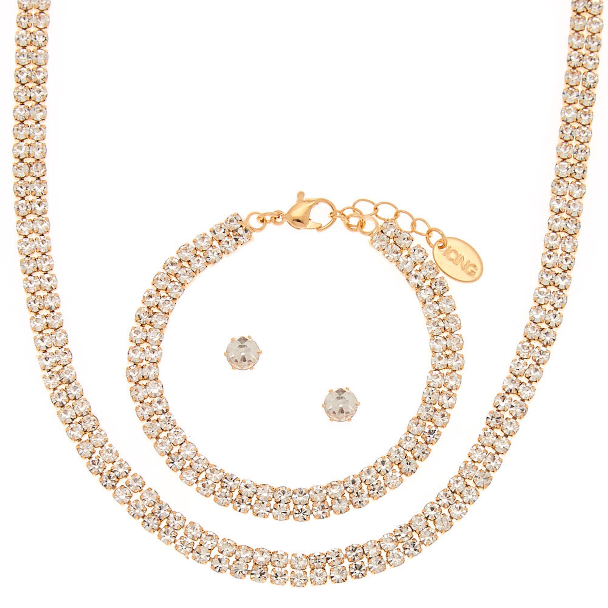 d6c6b9e452 Gold Rhinestone Choker Jewelry Set - 3 Pack