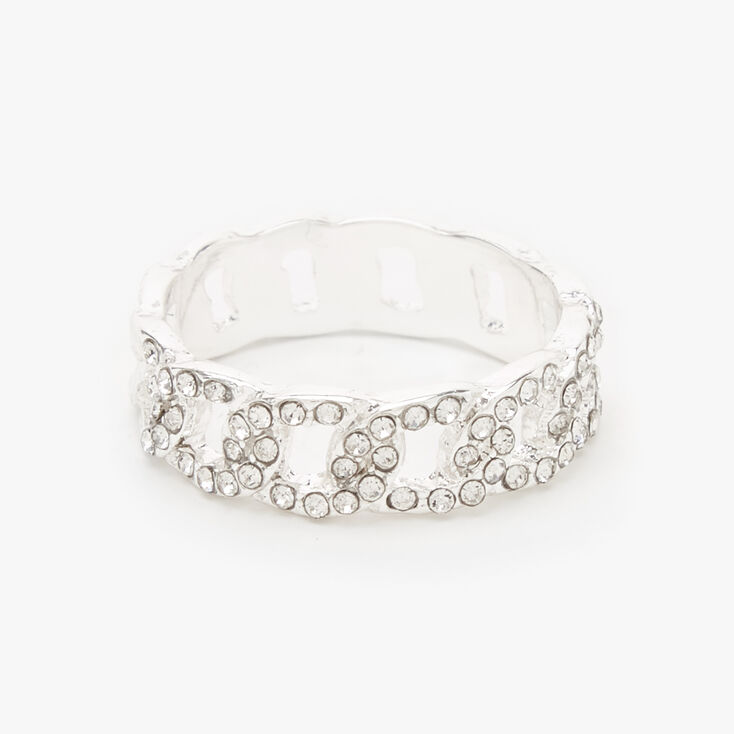 Silver Embellished Chain Link Ring,