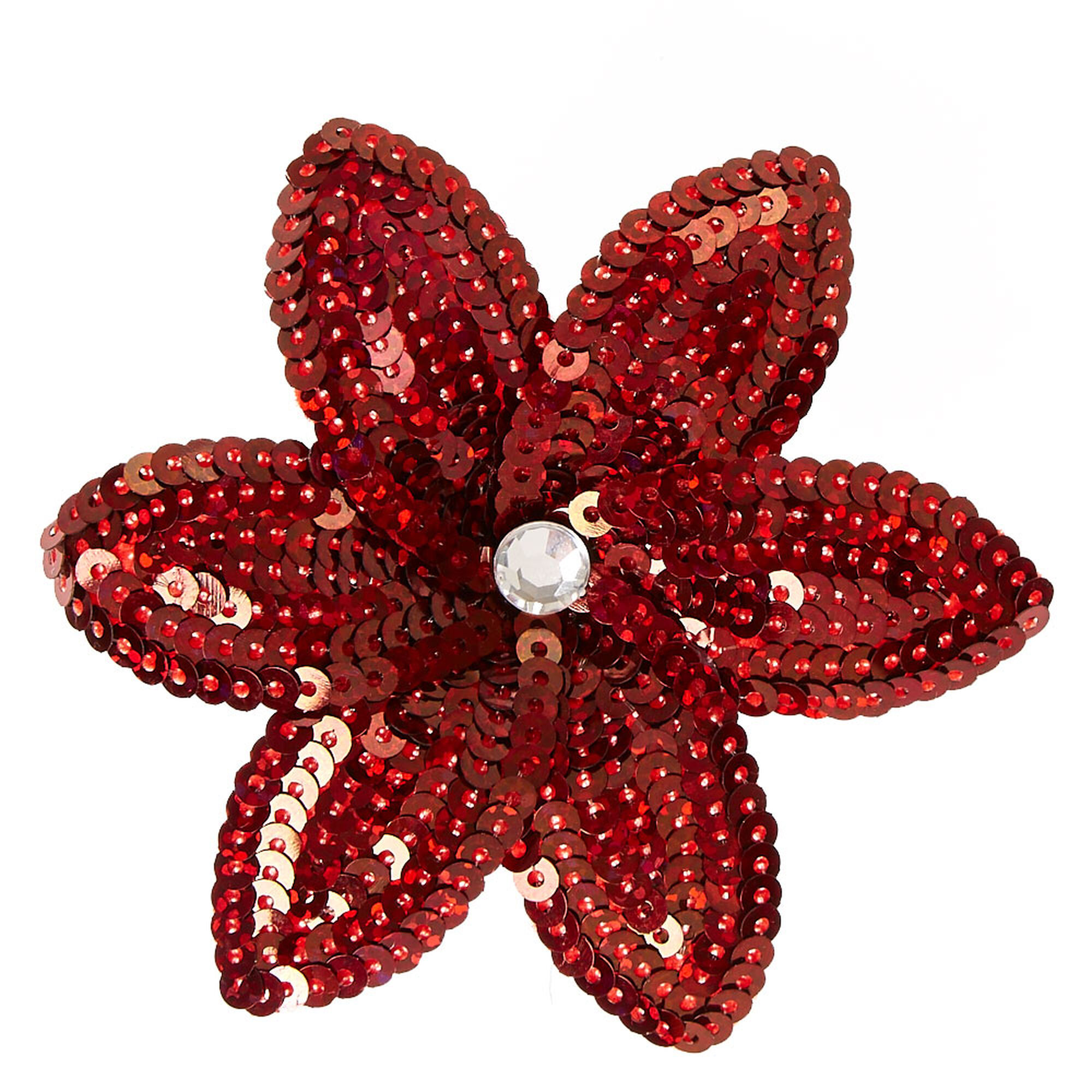 Burgundy Sequin Lily Flower Hair Clip