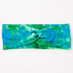 Blue & Green Tie Dye Twisted Headwrap,