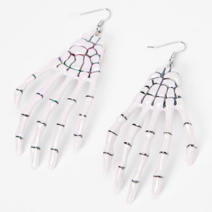 """Skeleton Hand 3"""" Drop Earrings - White,"""
