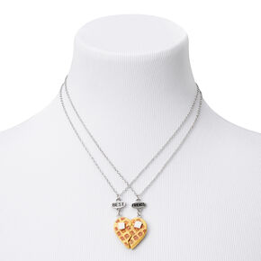 Best Friends Silver Waffle Heart Pendant Necklaces - 2 Pack,