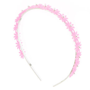 Silver Glitter Daisy Headband - Pink,
