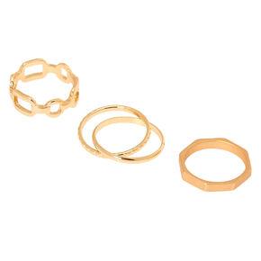 Gold Geometric Chain Rings - 3 Pack,