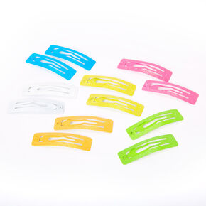 Neon Glitter Square Snap Hair Clips - 12 Pack,