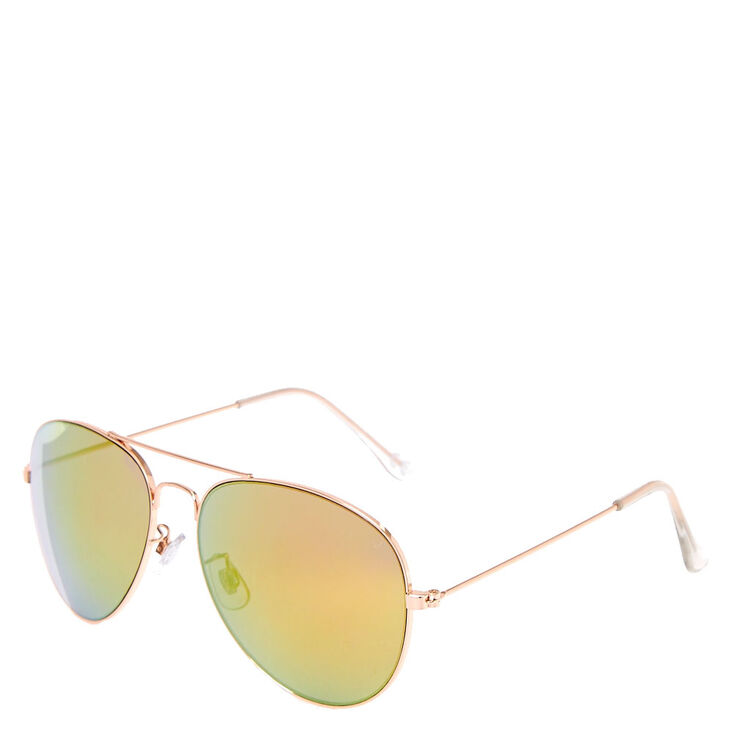 3f3636bf6adef Rose Gold Toned Yellow  amp  Pink Tinted Aviator Sunglasses