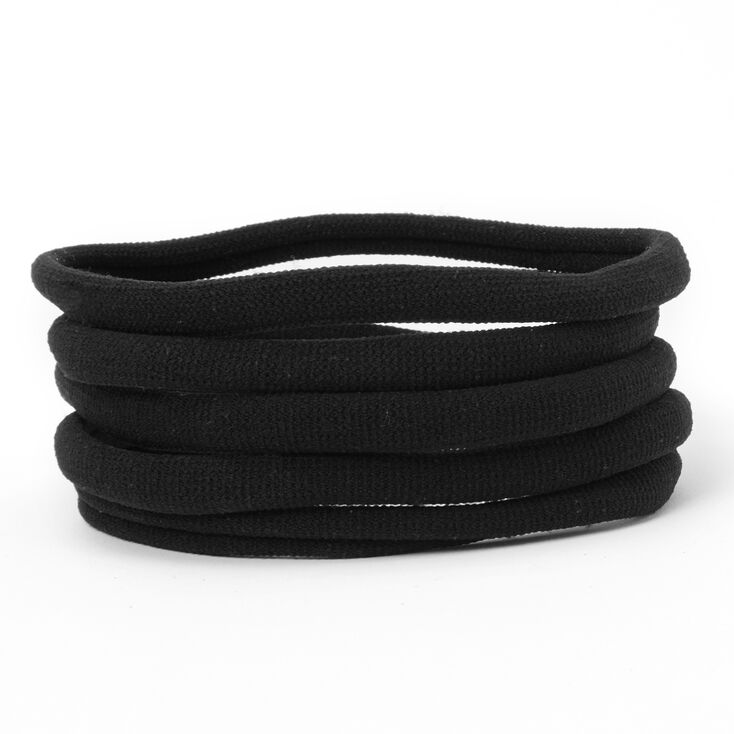 Claire/'s Girl/'s Solid Rolled Hair Ties Black 6 Pack