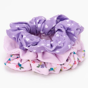Claire's Club Small Purple Floral Scrunchies - 3 Pack,