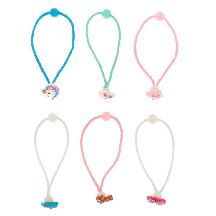 Claire's Club Rainbow Glitter Hair Bobbles - 6 Pack,