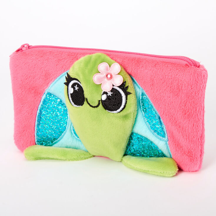 Tessa the Turtle Plush Pencil Case - Pink,