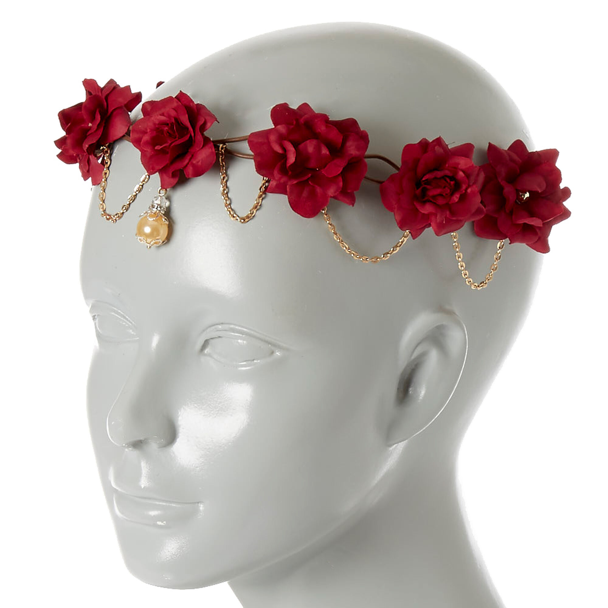 Gold chain burgundy flower crown headwrap claires gold chain burgundy flower crown headwrap izmirmasajfo