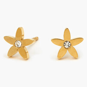 Gold Titanium Crystal Flower Stud Earrings,