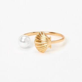 Gold Open Seashell Pearl Ring,