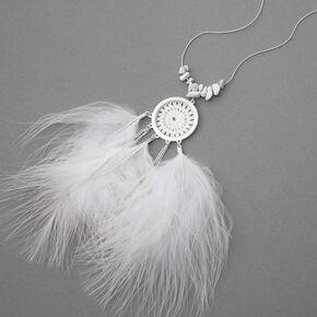 Silver Crochet Feather Long Pendant Necklace - White,