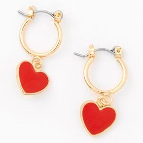 Gold 10MM Heart Charm Hoop Earrings,