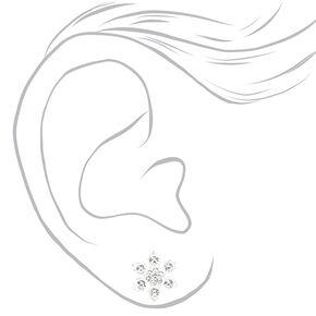 Clous d'oreilles flocon de neige couleur argentée,