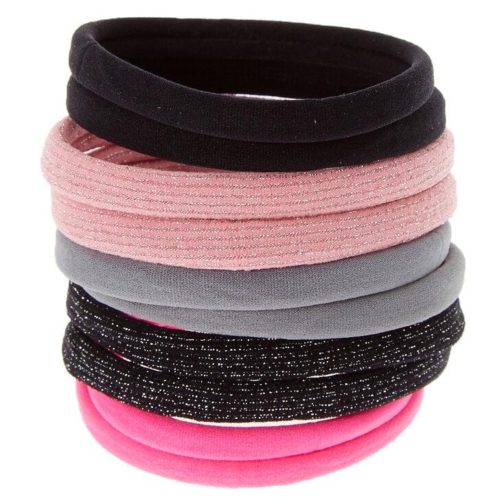 Élastiques à cheveux rose, noirs et gris,
