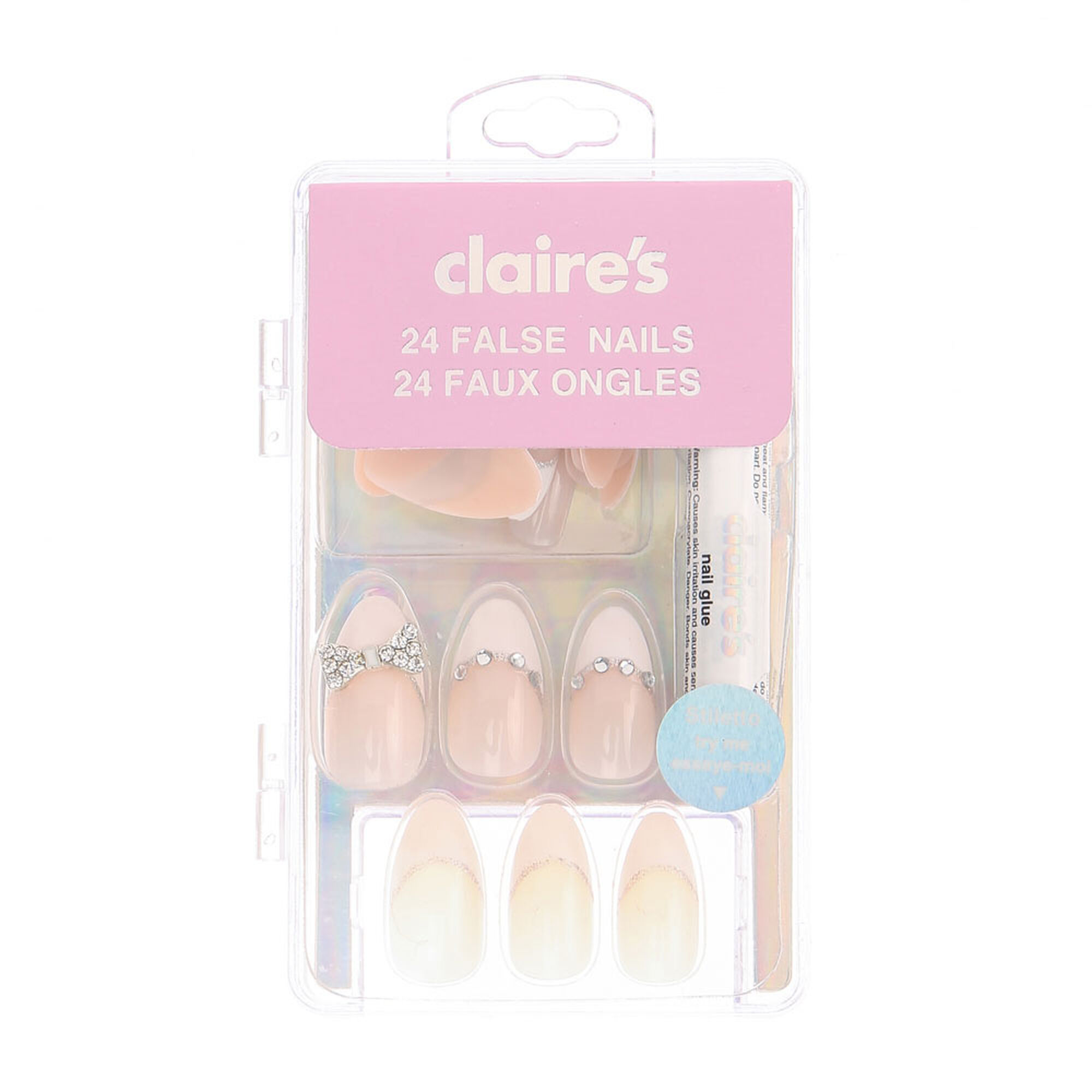 Crystal Bow French Tip Stiletto False Nails | Claire's