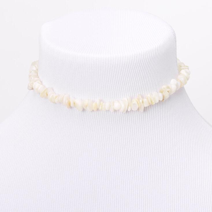 Puka Shell Choker Necklace - White,