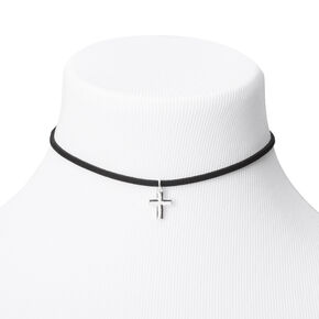 Silver Cross Choker Necklace - Black,
