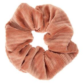 Medium Ribbed Velvet Hair Scrunchie - Peach,