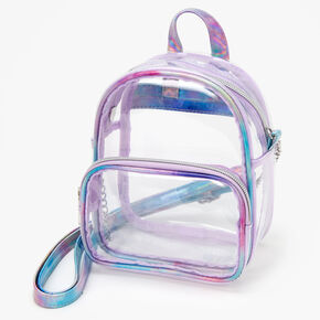 Holographic Trim Mini Backpack Crossbody - Clear,