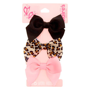 Claire's Club Leopard Print Bow Hair Clips - 3 Pack,