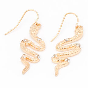 "Gold 1.5"" Embellished Snake Drop Earrings,"