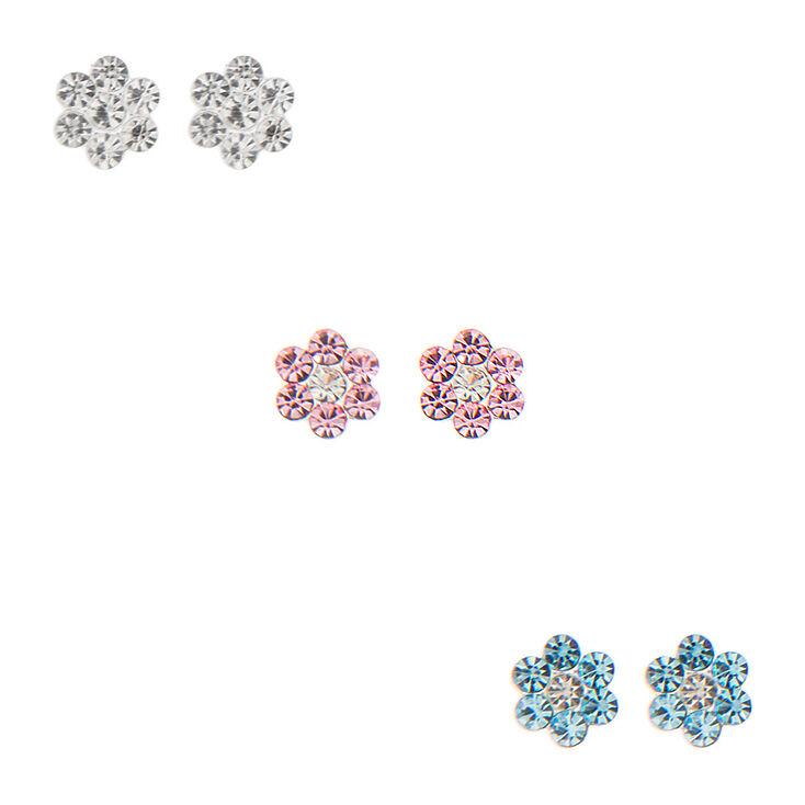 de7e56401 Sterling Silver Flower Stud Earring Set   Claire's US