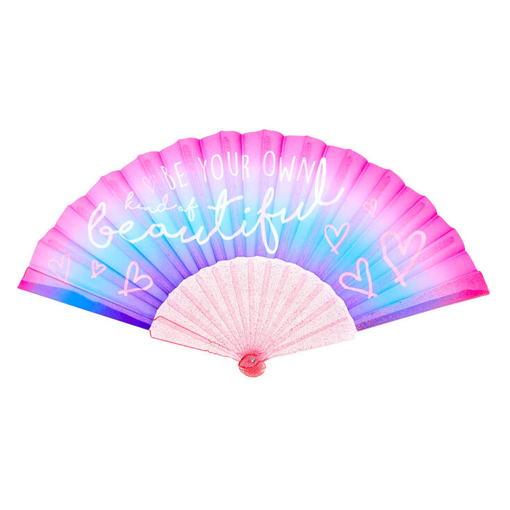 Be Your Own Kind of Beautiful Ombre Folding Fan - Pink,
