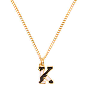 Gold Striped Initial Pendant Necklace - K,