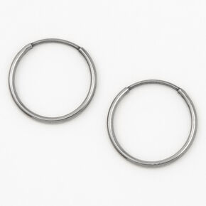 Silver Titanium 14MM Sleek Hoop Earrings,